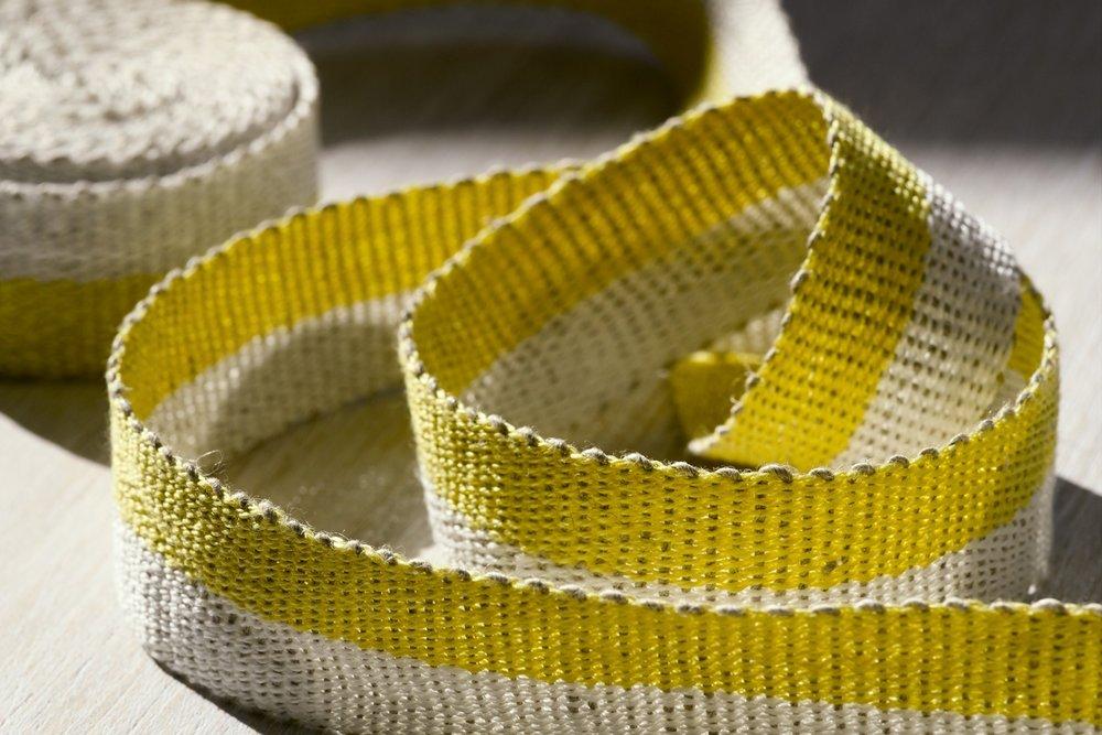 Fresh Yellow Handwoven Linen Tape Trim