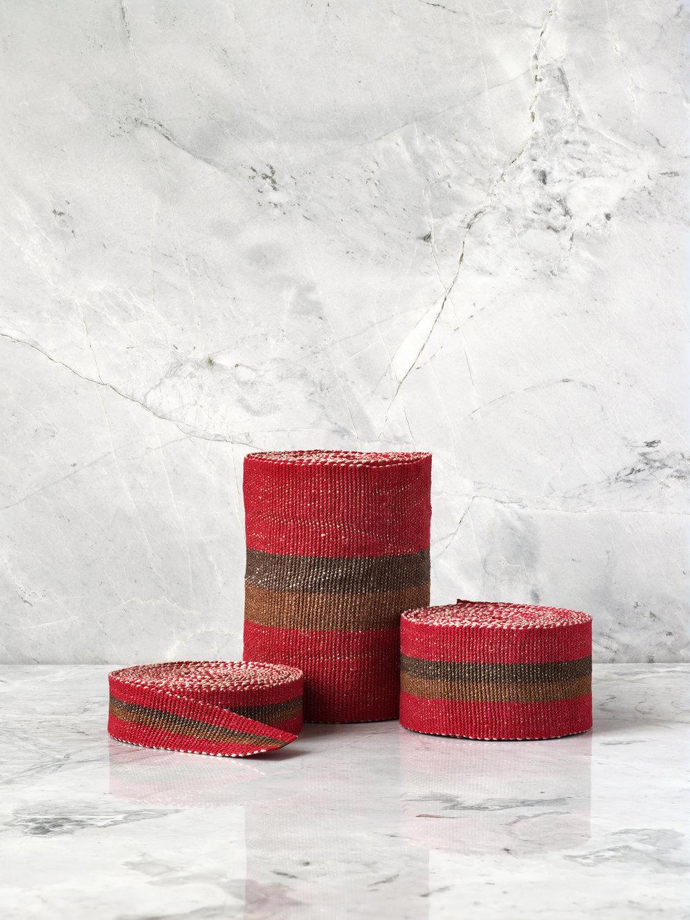 Red & Cocoa Handwoven Linen Tape Trim, Trio