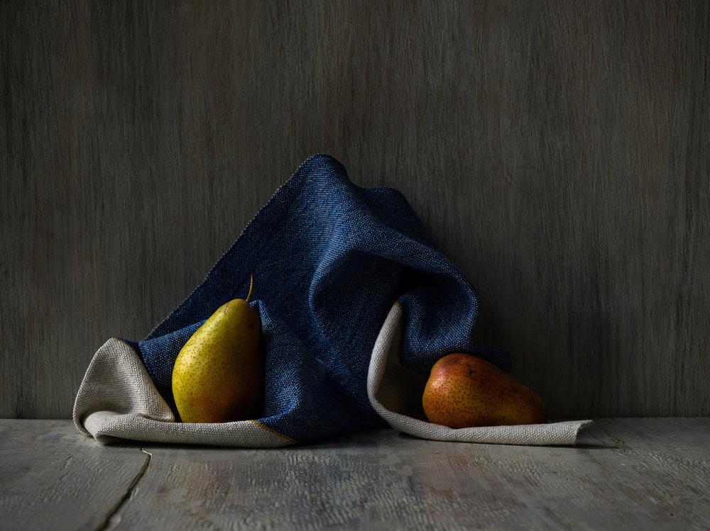 Half Blue Plain Weave Hand Towel