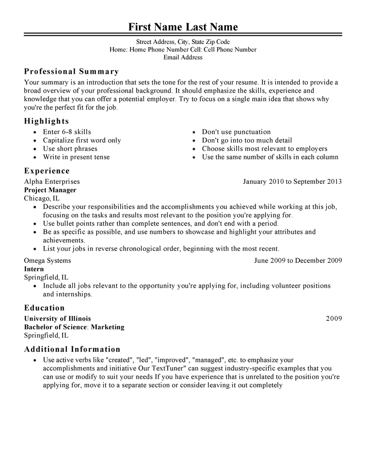 classic resume - Resume Bachelor Of Science