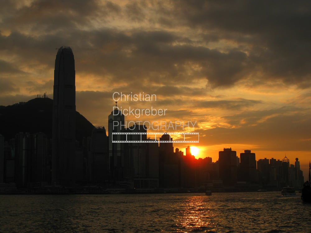 Sunset over HK island