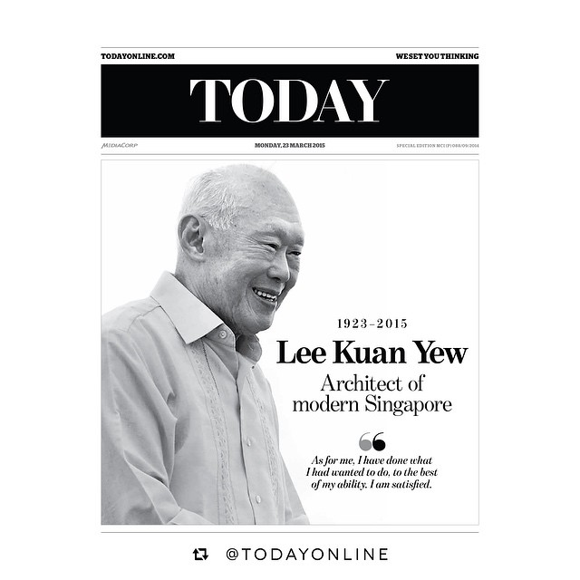 You were indeed a legendary Architect of our very fine nation, and we hope to be able to carry on your legacy. Thank you for all you've done. May you rest in peace, Sir. #LeeKuanYew #riplky #Singapore