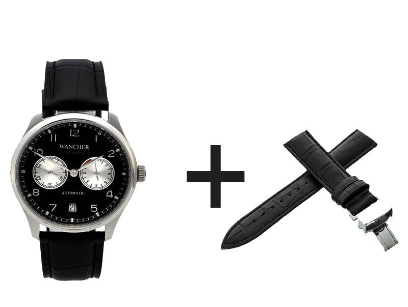 - ナビゲーション時計を注文して、Dバックル本革製ベルト黒×1本を入手