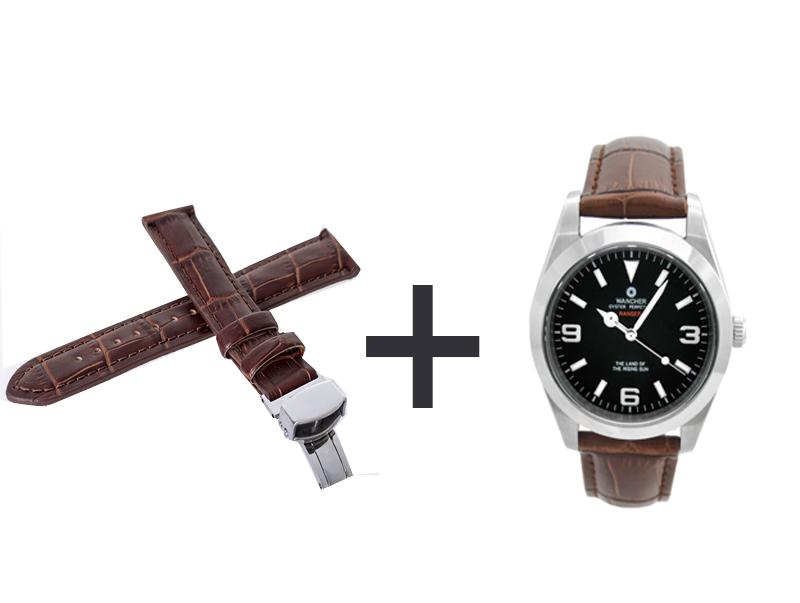 - レンジャー時計を注文して、Dバックル本革製ベルト茶×1本を入手