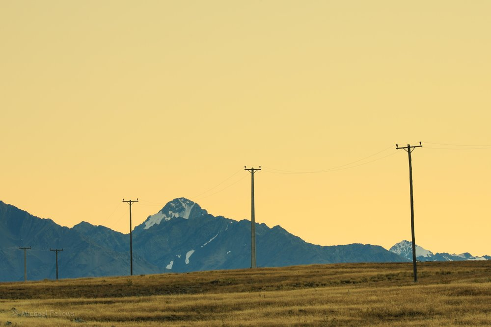 Sunrise with 5 telegraph poles