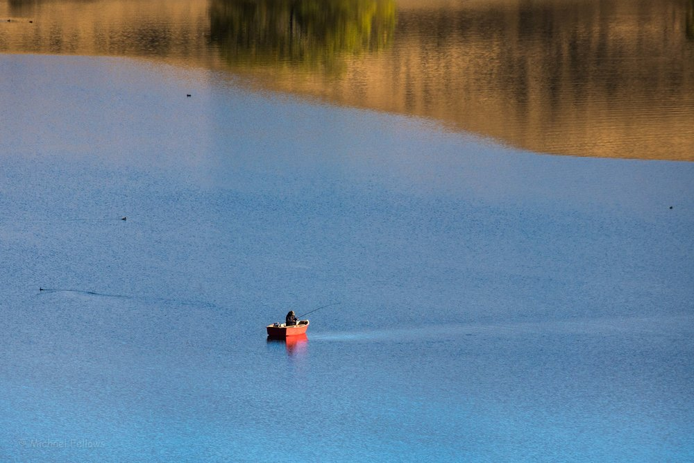 Red Boat and ducks on Lake Alexandrina