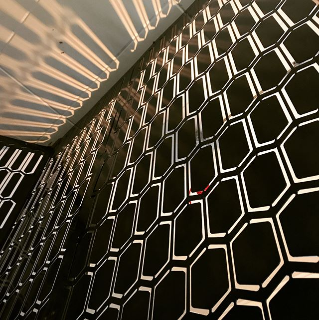 Another peek into our new space!! Swipe Right to see more. Formally the Phoenix Saloon offices on the second floor, we custom designed this laser cut steel perf pattern to dress up the entry vestibule of the office. Trying to blend TADA with the over 100-year-old historic building, we went for a modern nod at a art-deco style with elongating this hex pattern. Well...art deco... or 1980's wall paper... whichever the case, we think it's rad! Hope you do too!! . . . #custom #design #modern #interiordesign #interior #architecture #modernoffice #office #officedesign #designmilk #1980s #artdeco #superrad