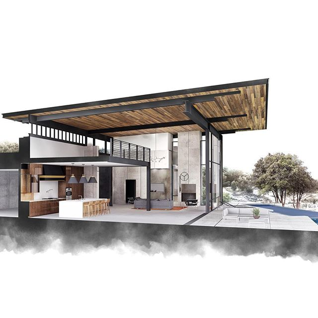 Section perspective of the modern Texas Hill country residence that we are working on right now. More rendering perfection by @anna_niespie !!! . . . #drawing #sectionperspective #rendering #dailysketch #architecture #design #interiordesign #modern #moderndesign #tottalytada #totalartdesignarchitecture