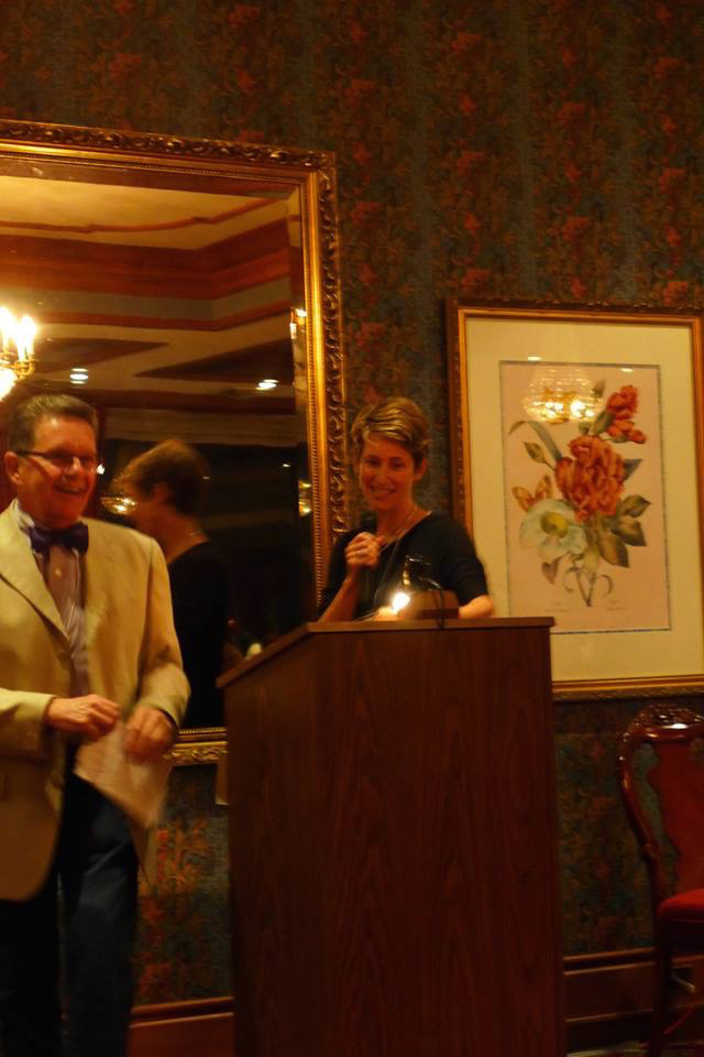 Taking the podium at the banquet for my three minutes. (And how about Larry's great bow tie?)