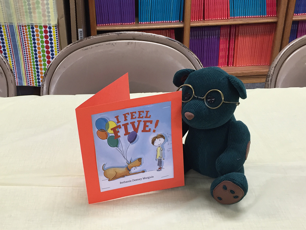 And, adorning the potluck tables...many small bears with my books!