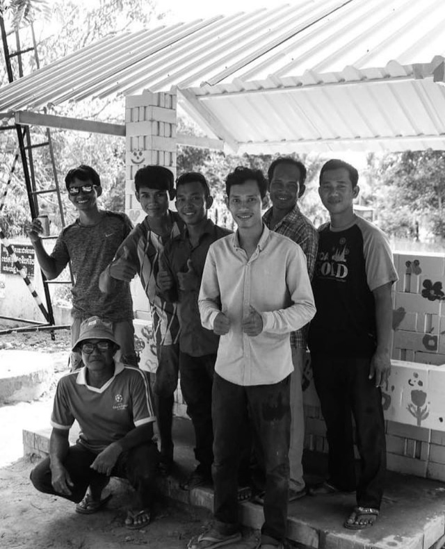 Our Head, Heart & Hand building team: Left to right -  Vuthy, Dara, Panha, Ponlock, Sen, Kimsour and Kuy at the front.  Head, Heart & Hand Holidays believe in creating jobs not taking jobs!