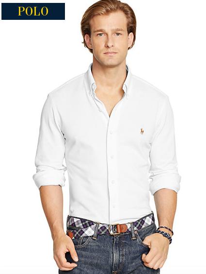 Helt ny Knit Oxford kvalitet, som finnes i Polo sin klassiske hvit- og blåfarge.