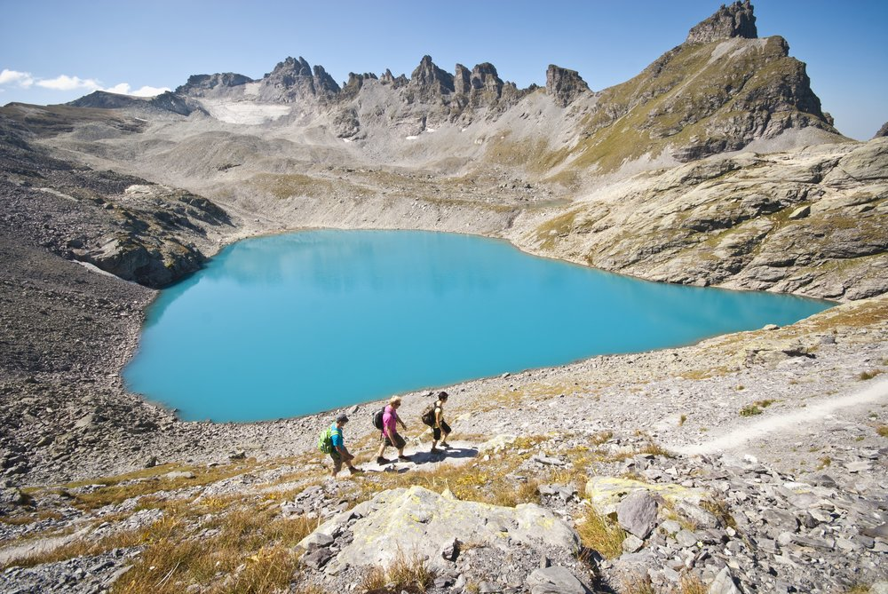 The 5 lake hike is characterised by five crystal clear mountain lakes and unique views of the UNESCO world heritage site Sardona.