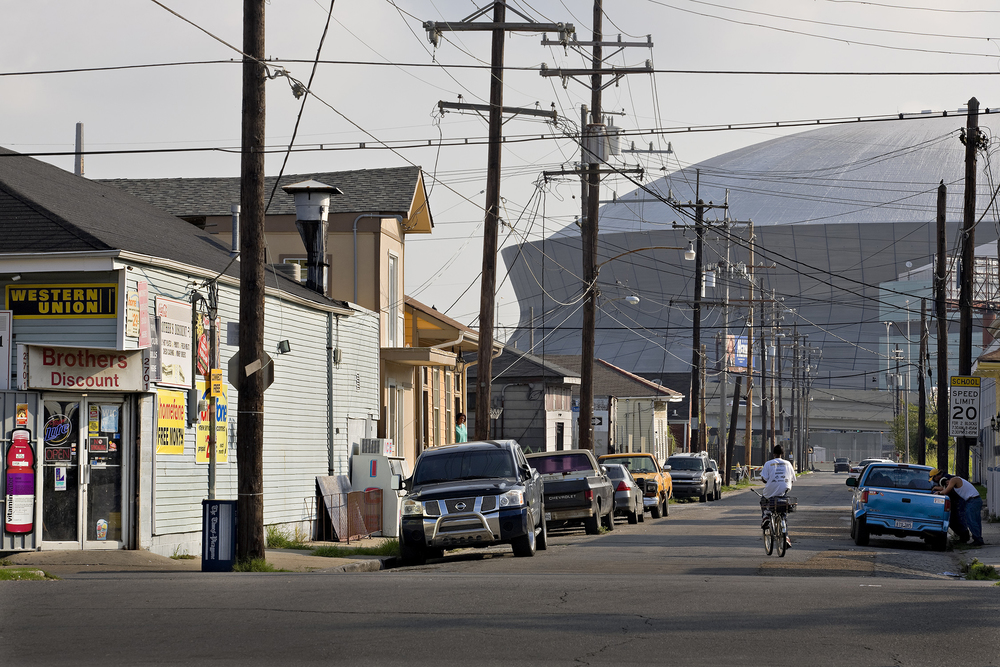 Central Citystreetscape,  looking toward the Louisiana Superdome (now the Mercedes-Benz Superdome), designed by Curtis and Davis Architects from 1970 to 1975   , New Orleans, 2008 © Richard Sexton