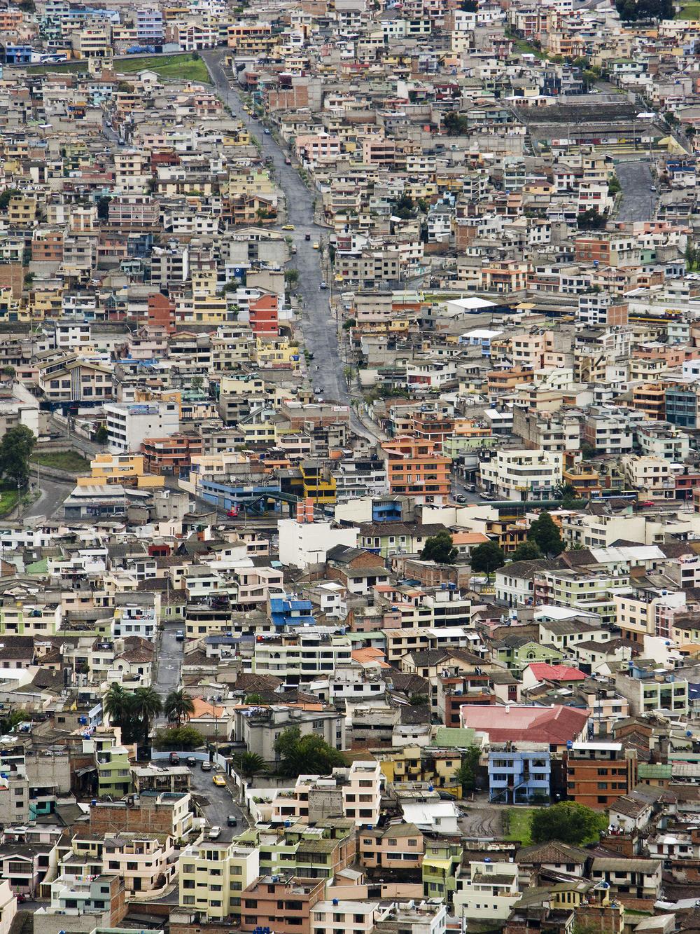 View of modern suburbs of Quito from El Panecillo hill   , Quito, Ecuador, 2008© Richard Sexton