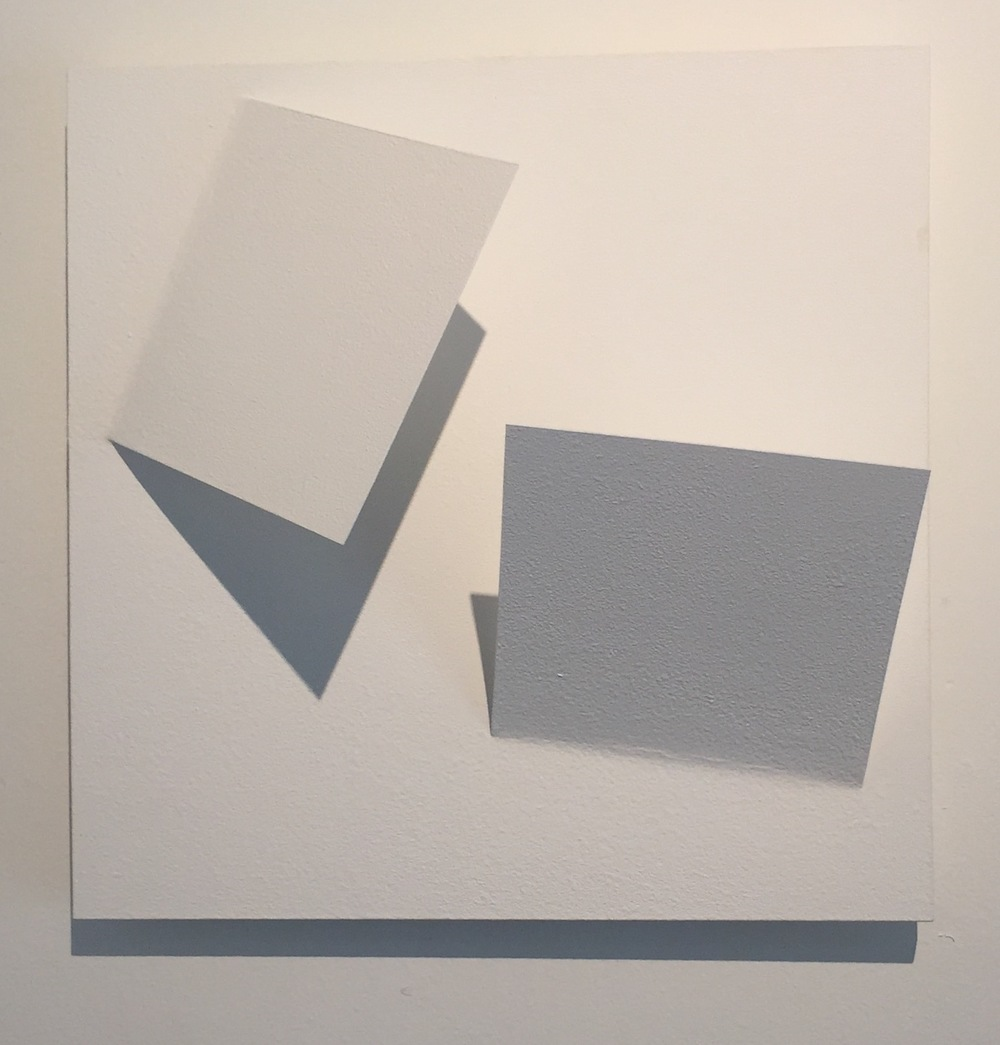 Carlos Medina.  Superficie a dos cuadrados , 2015. Assembly. Mdf, pvc,white vinyl acrylic paint