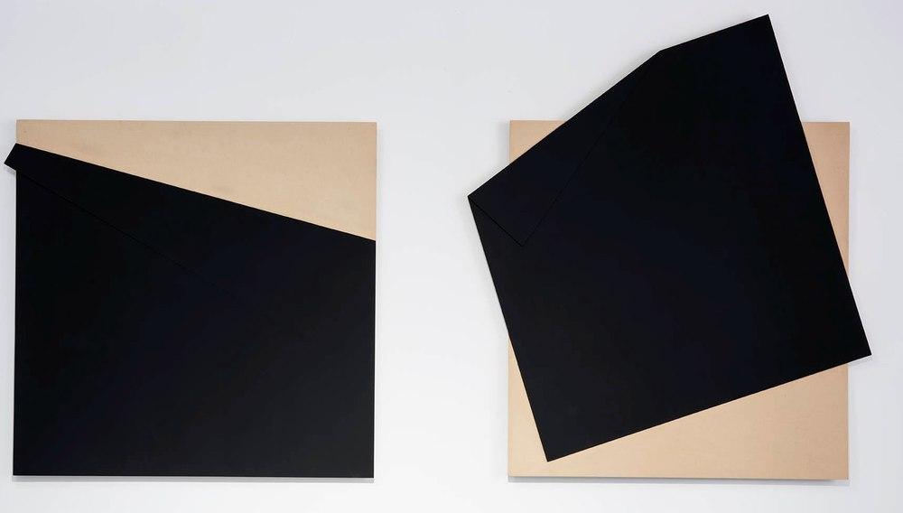 Carlos Medina.  Estudio para superficie negra 15, y 20 , 2013. Direct carving router. MDF and black vinyl acrylic paint.