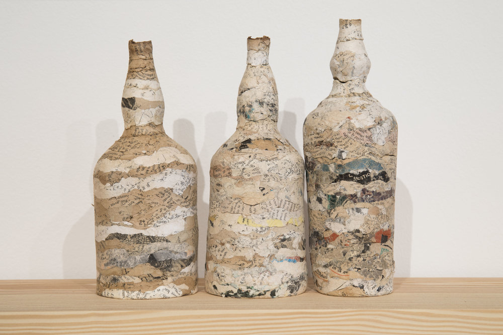 Embotellados / Bottled (Detalle)  ,    paper, glass and wood, 2016. Foto Oriol Tarridas