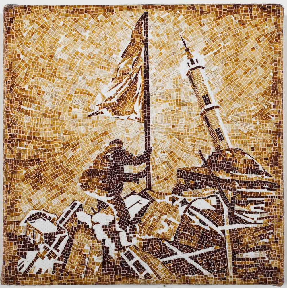 Pintura Épica, 2010, fragmentos de alas de cucarachas sobre tela, 5 x 5 pulgadas. Foto Oriol Tarridas