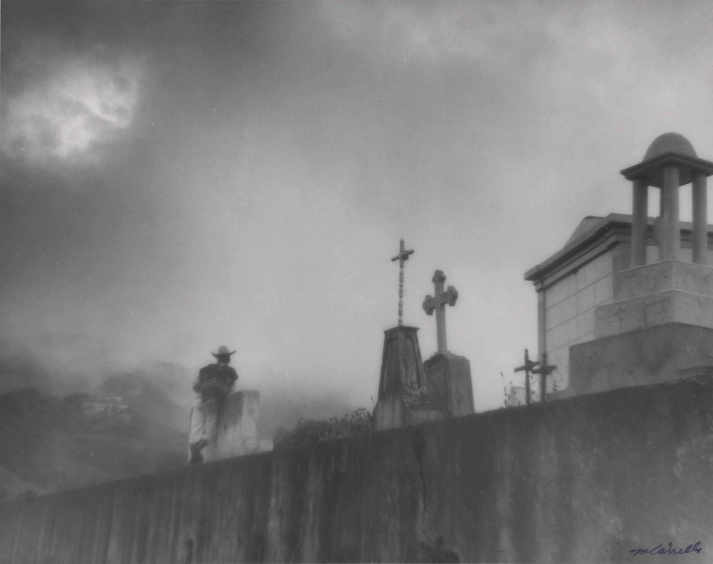 Cemetery in Mist  (Zacapoaxtla, Puebla),  c. 1955-75.Black & White photograph on paper. 8 x 10