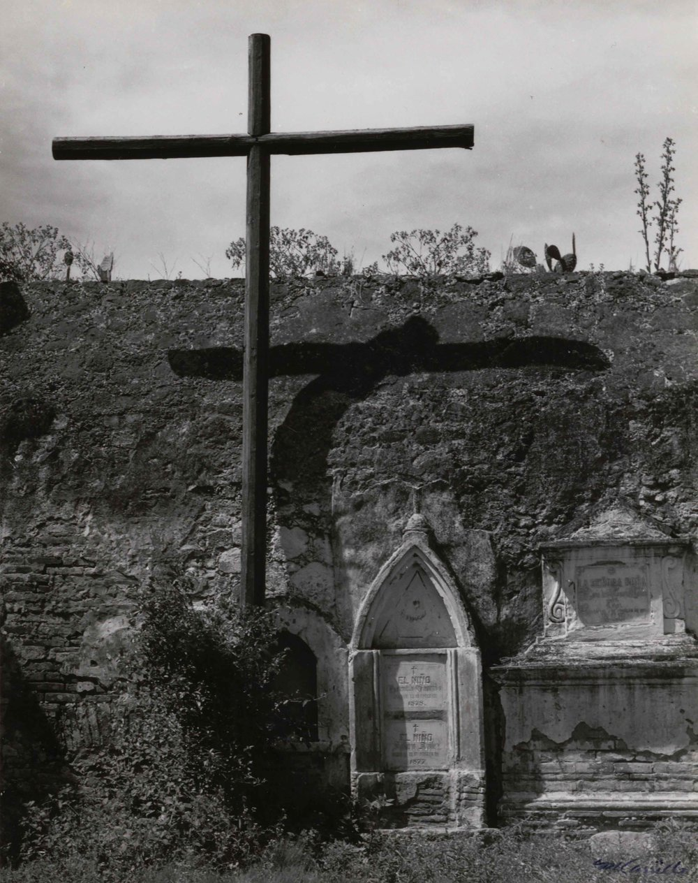 Cemetery with Crucifix  (Apan, Hidalgo), 1973. Black & White photograph on paper. 8 x 10