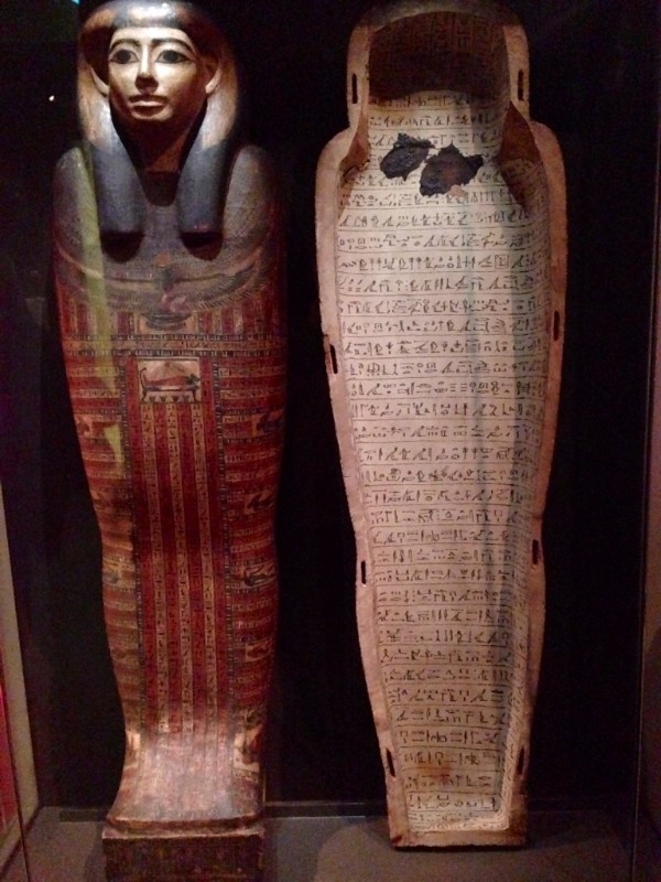 Inamun coffin lid and case - on display in the Egyptian gallery. Over 2,600 years old, dating to the 25th or 26th Dynasty (675-640 BCE) in the Late Period. From Thebes and made of wood, this coffin is typical of the period and is covered with texts and images of gods. COOL.