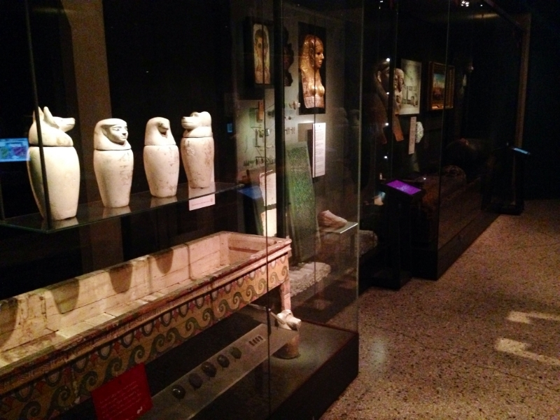 The museum has a large collection of Egyptian artefacts and has been collecting them for over 150 years. The lighting in the gallery is kept low to preserve the objects (and to add to the coooool egyptology atmosphere)