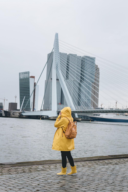 Rotterdam rain portrait yellow