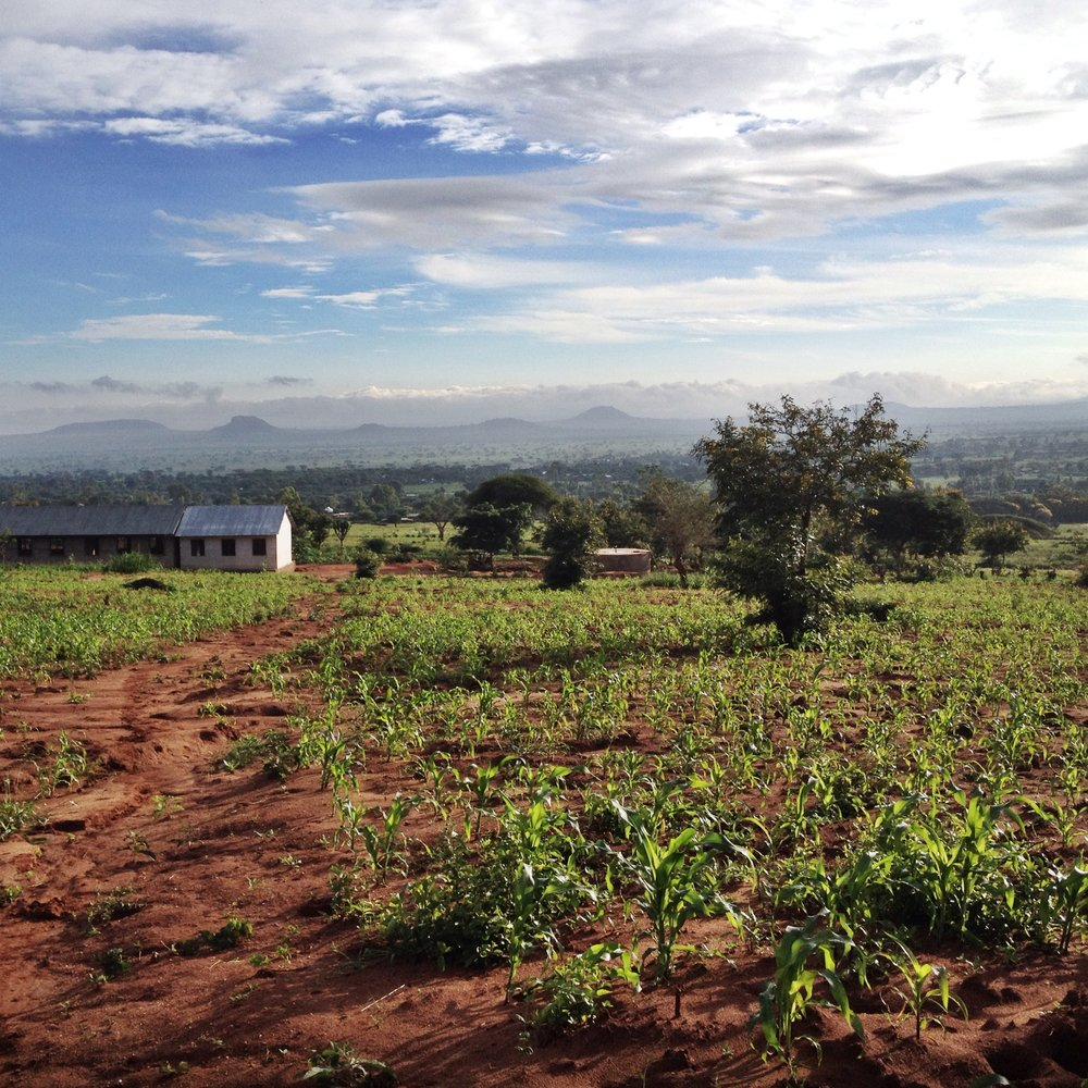 The view of the QEA school building and village beyond.