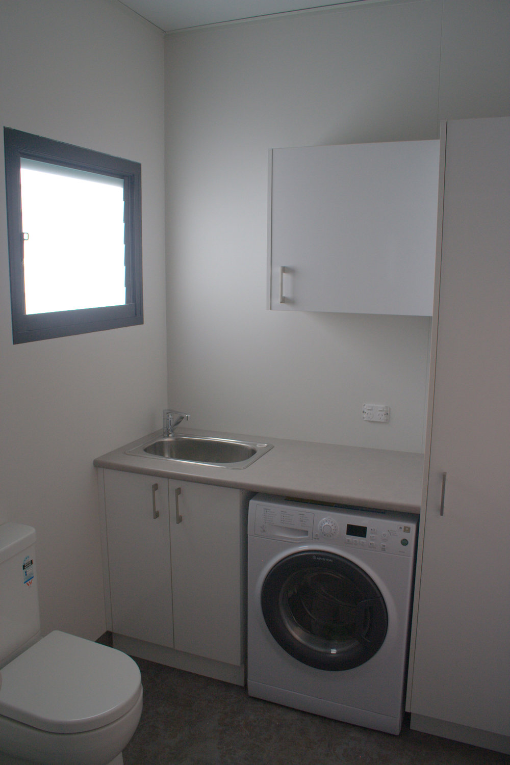 Kitchen, bathroom and laundry modules come with finished surfaces and fitted appliances.