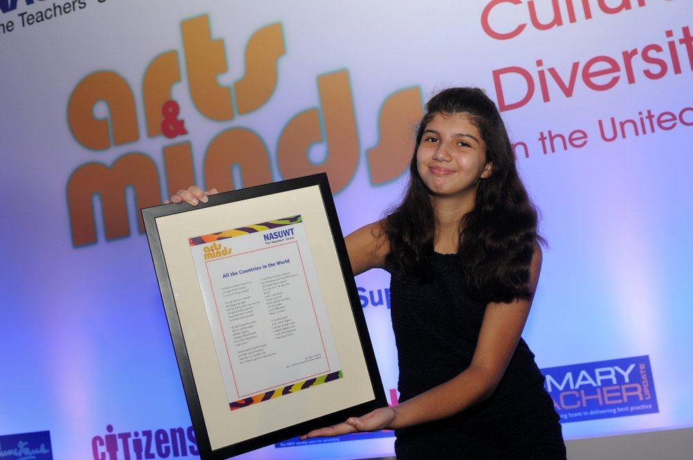 Zarah with her poem at the NASUWT awards last week