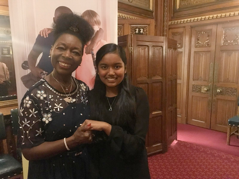Inaya with Floella benjamin in the house of commons