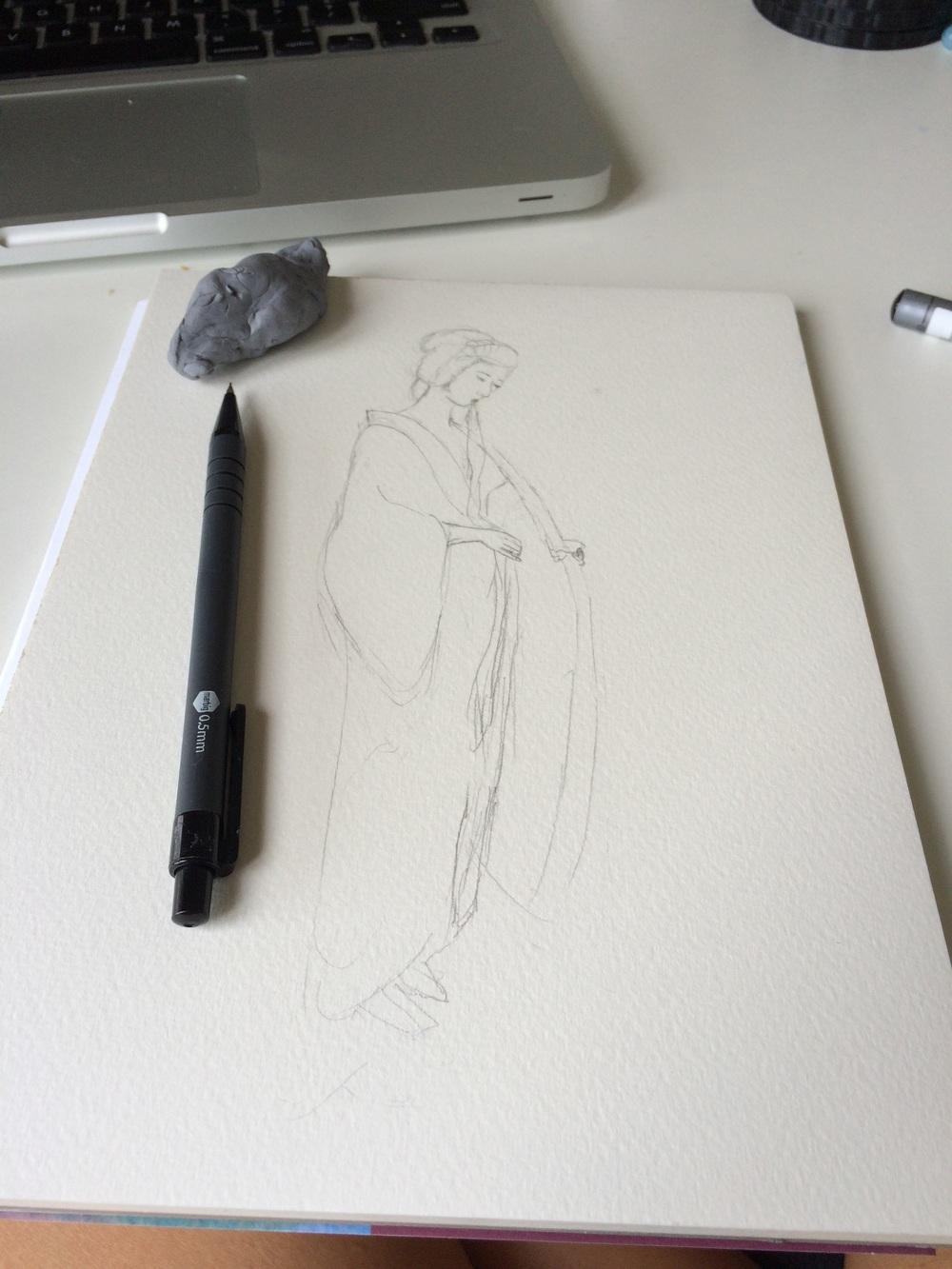 Initial pencil sketch.