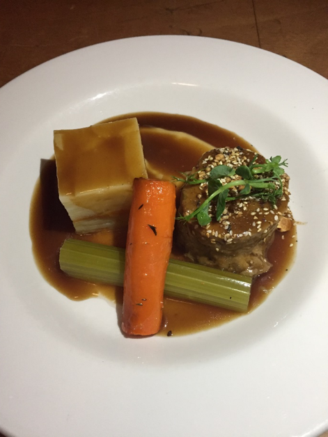 'Confit' forest of bowland lamb shoulder celeriac puree, braised madeira celery, pressed lancashire hot pot vegetables, roasting juices