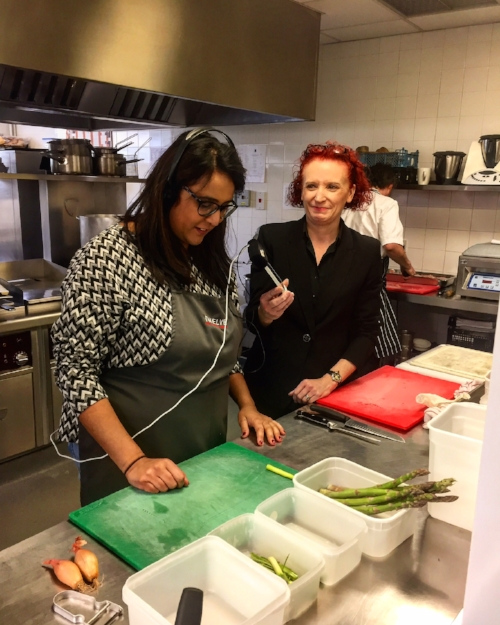 Nish gets a cooking masterclass...in cutting seasonal asparagus!