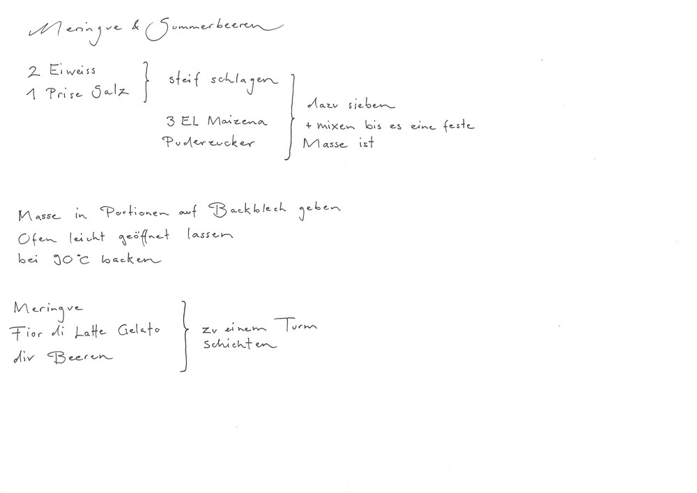 2 Eier, Salz, Maizena, Puderzucker, Fior di Latte Gelato, div. Beeren