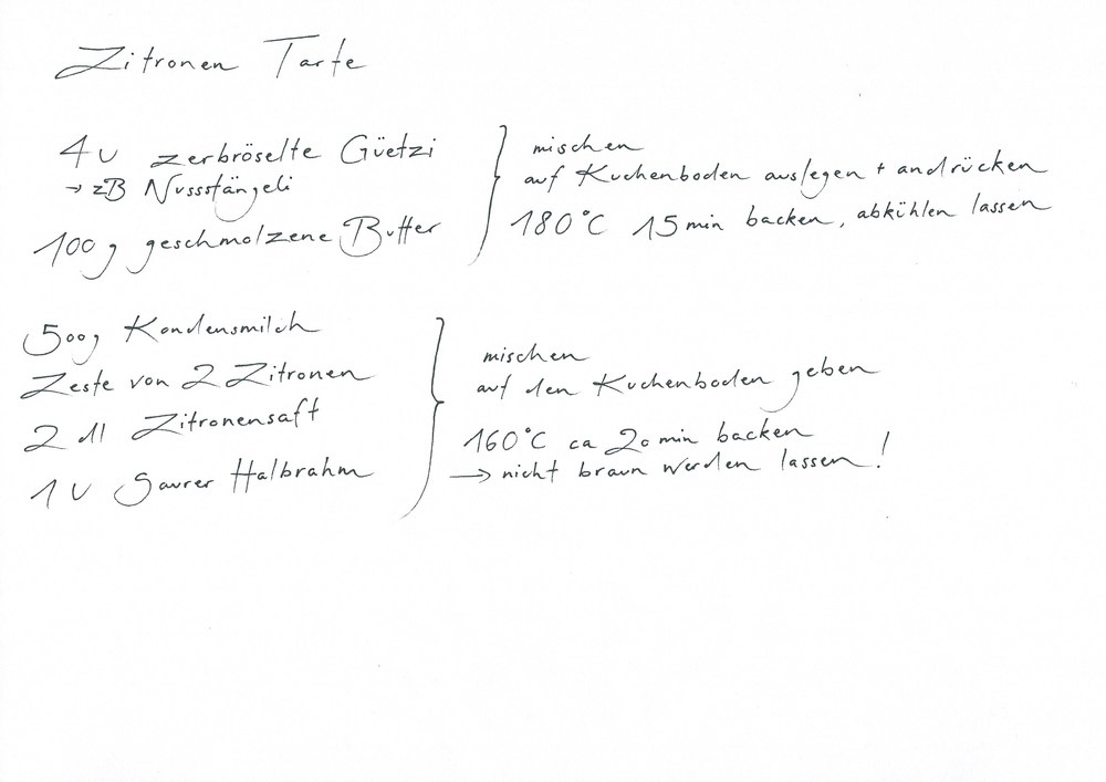 Güetzi/Nussstängeli, Butter, Kondensmilch, Zitronen, Saurer Halbrahm