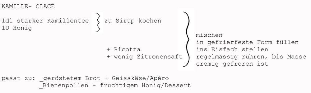 Kamillentee, Honig, Ricotta, Zitronensaft, Brot, Geisskäse, Bienenpollen