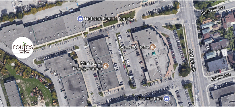You can find us at the far west end of the parking lot, in the north corner of the complex. If getting off the Dufferin bus at Briar Hill Avenue, walk straight west to the far end of the parking lot.