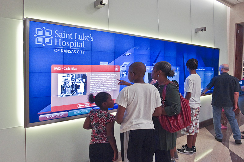 Digital signage history wall for Saint Luke's Hospital