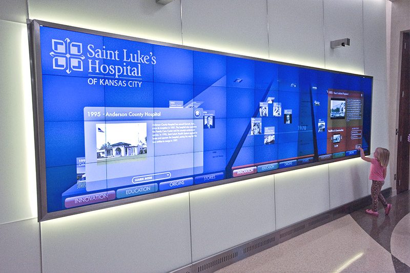 Interactive Digital signage history wall for Saint Luke's Hospital