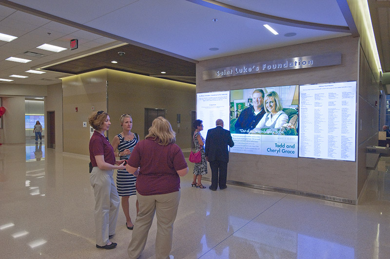 Digital signage for donor recognition for Saint Luke's Hospital