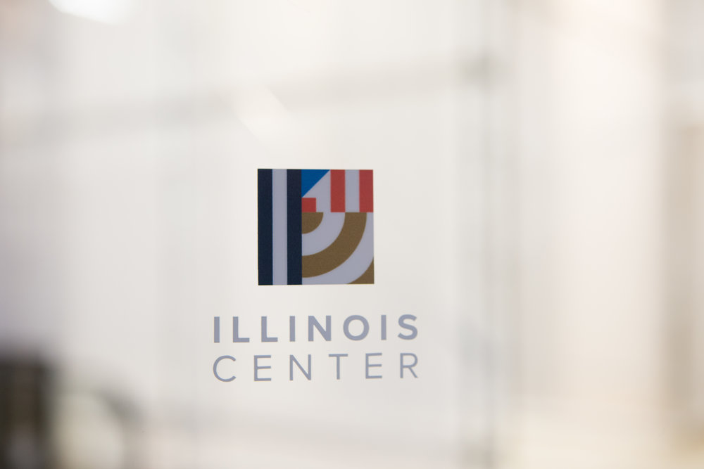 Illinois center logo on glass