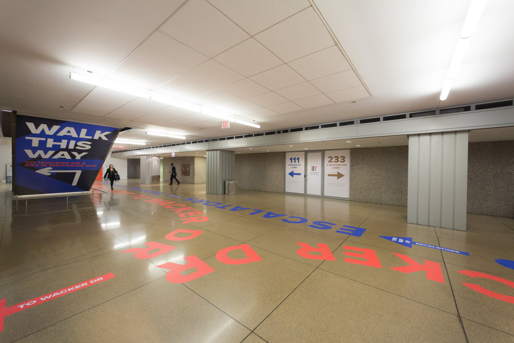 Construction graphics and wayfinding for Illinois Center
