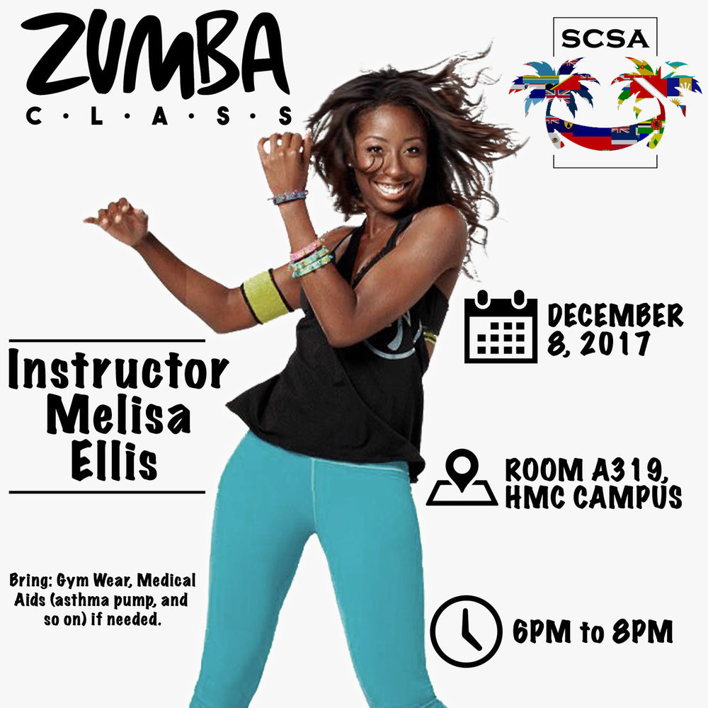 🚨 Upcoming event! Come out to Zumba class on Dec 8th from 6pm - 8pm, A319