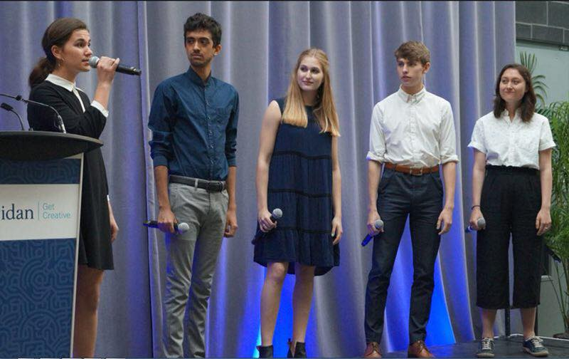 Goranson, Noah Beemer, Emma Burke-Kleinman, Michael Derworiz, and Kelsi James performing at a Sheridan event.