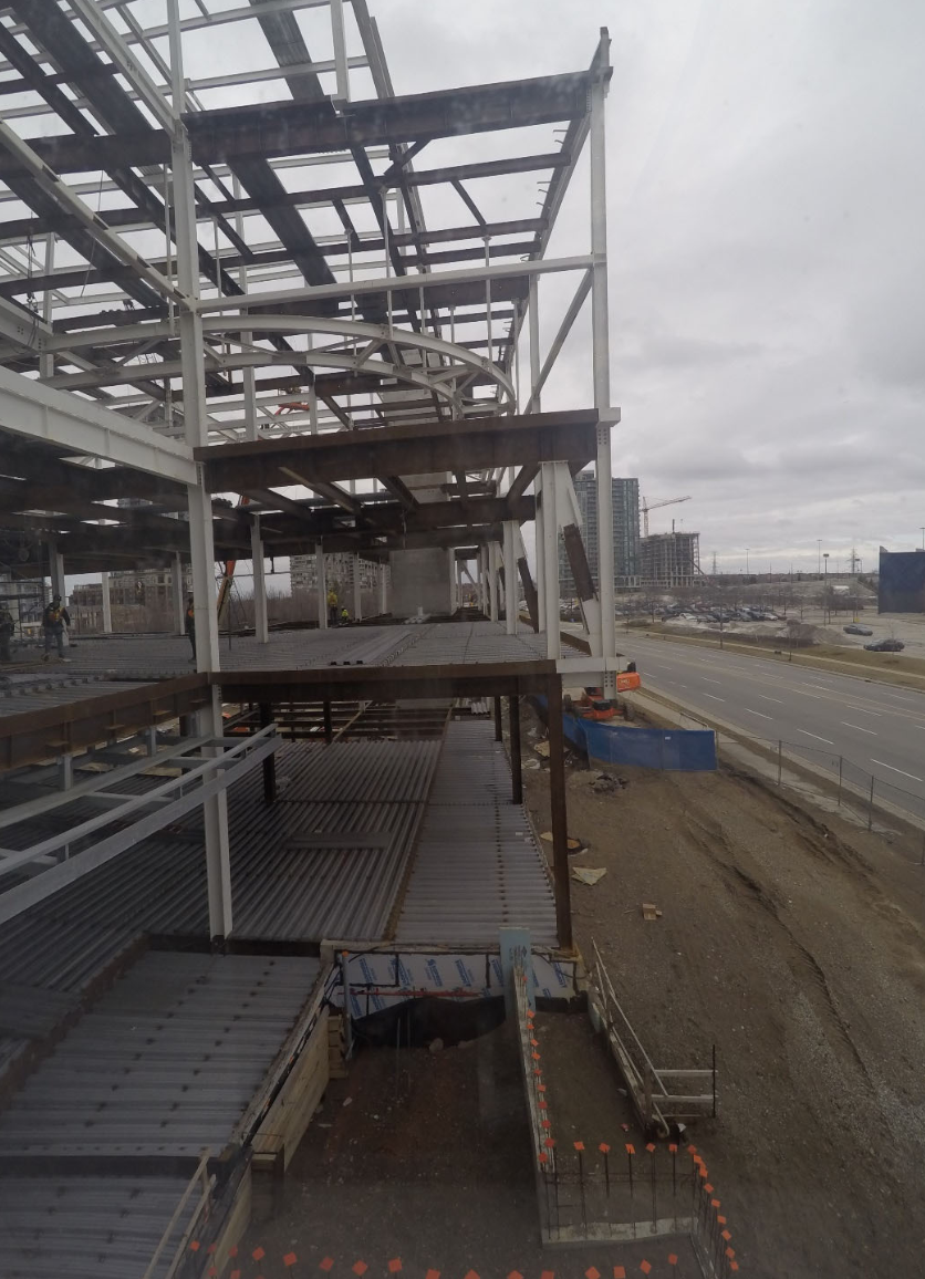 Steel erection of sequence 7-9, Picture taken from B298 Classroom, facing West towards Living Arts Drive.