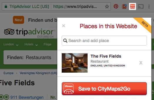 Wenn Du den CityMaps2Go-Button rechts oben in Deinem Browser klickst, kannst Du ganz einfach jeden Ort in die CityMaps2Go-App speichern, der auf der Website erwähnt ist.