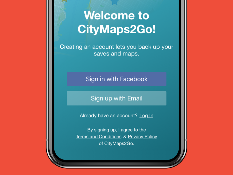 Step 2: Create an Account   Open CityMaps2Go and log in or sign up for a new account.