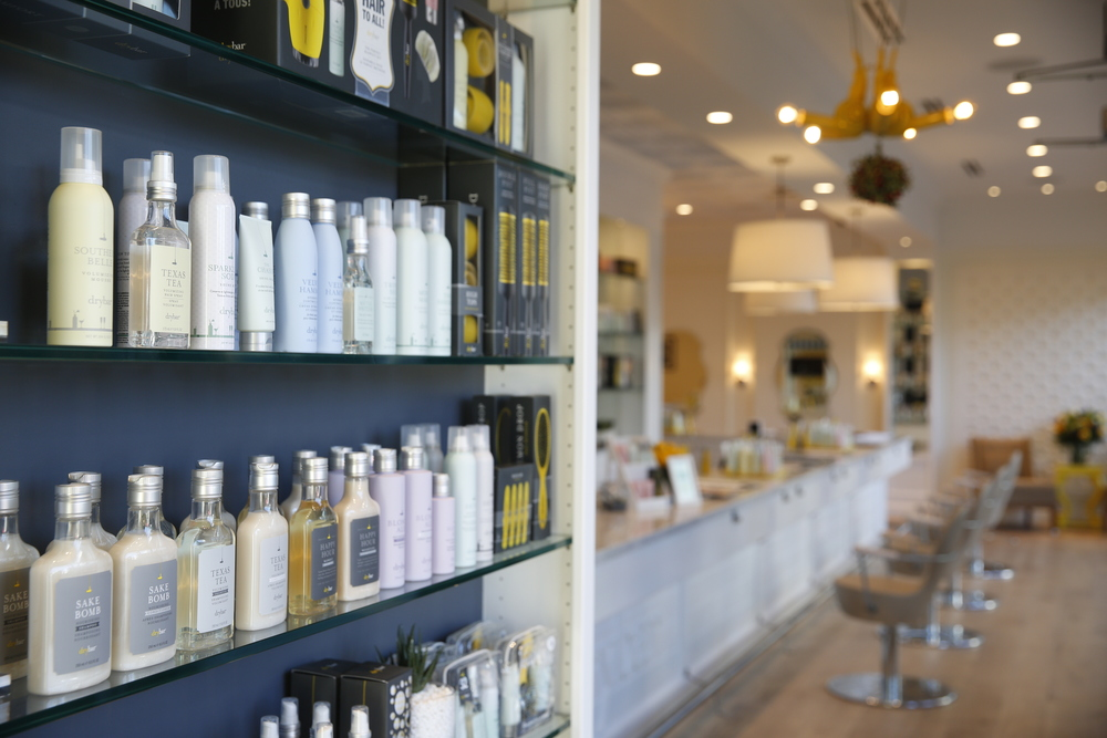 Drybar Denver product wall.jpg
